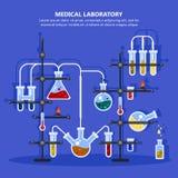 Apteka, medycyny laboratorium z drymbami lub lab lub royalty ilustracja