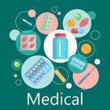 Apteka sztandar medycyny i zdrowie symbole royalty ilustracja