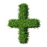 Apteki Plus z pierścionkiem, szyldowy robić od zielonych liści Obraz Stock