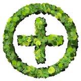Apteki Plus z pierścionkiem, szyldowy robić od zielonych liści Zdjęcie Royalty Free