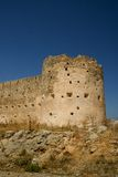 Aptera Fort. Ancient stone fort at Aptera in Crete, defensive historic significance overlooking bay of souda Royalty Free Stock Photography