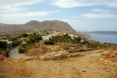 Aptera village on Crete in Greece. Aptera village crete and the mountains above Chania seen from the archaeological site. This was in ancient times one of the Stock Photos