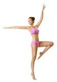 Aptidão da mulher e dança do esporte, dançarino aeróbio da dança da moça Foto de Stock