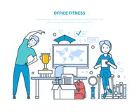 Aptidão do escritório Fazer ostenta exercícios, treinamento, atleta saudável do estilo de vida ilustração royalty free