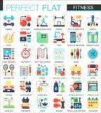 A aptidão e o esporte vector símbolos lisos complexos do conceito do ícone para o projeto infographic da Web ilustração stock