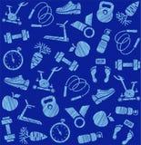 Aptidão, esportes que treinam, teste padrão sem emenda, protegendo o lápis, obscuridade - azul, vetor ilustração do vetor