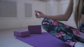 Aptidão home Fazer do treinamento da jovem mulher Músculos e junções do estiramento vídeos de arquivo