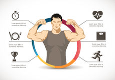 Aptidão - homem forte - conceito do gym Foto de Stock Royalty Free