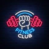 A aptidão, logotipo do gym assina dentro o estilo de néon, ilustração do vetor Uma bandeira de incandescência, um sinal de néon b Imagem de Stock