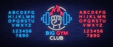 A aptidão, logotipo do gym assina dentro o estilo de néon isolado, ilustração do vetor Uma bandeira de incandescência, um sinal d Fotografia de Stock