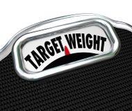 Aptidão saudável do objetivo da escala das palavras do peso do alvo Fotos de Stock Royalty Free