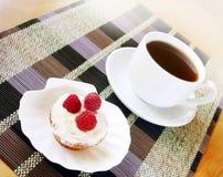 Aptitretande fruitcake med kräm och hallon Arkivbilder