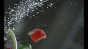 Aptitretande grönsaker tvättas under rinnande vatten i en durkslag långsam rörelse r långsam rörelse Kamera P arkivfilmer