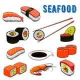 Aptitretande havs- japansk sushi och rullar royaltyfri illustrationer