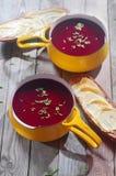 Aptitretande rödbetasoppa i gul bunke och bröd Royaltyfri Bild