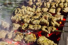 Aptitretande stycken av marinerat kött med kryddor stekt kebab över glödhet kolrad av griskötthöna på metallsteknålar arkivbilder