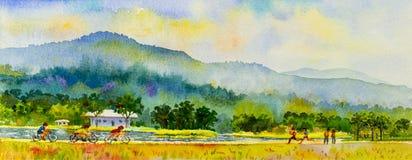 Aptitud de la familia de la pintura por la bicicleta y el funcionamiento del paseo en colorido Foto de archivo libre de regalías