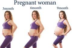 Aptitud de la mujer embarazada en diversas etapas imagen de archivo libre de regalías