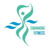 Aptitud de la natación - vector Logo Sign Foto de archivo libre de regalías