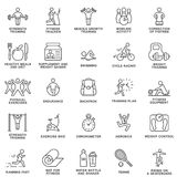 Aptitud de los iconos, ejercicio, equipo del gimnasio, deportes, actividad, reconstrucción, nutrición líneas finas Foto de archivo
