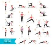 Aptitud del entrenamiento de la mujer, aerobio y ejercicios libre illustration