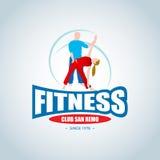 Aptitud Logo Template Aptitud del hombre y de la mujer Logotipo del club del gimnasio Concepto creativo del club de fitness del d Foto de archivo libre de regalías