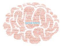 Aptitud mental Brain Word Cloud Fotografía de archivo libre de regalías