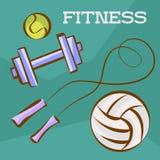 Aptitud y deportes fijados Balones del tenis y de fútbol, pesa de gimnasia y cuerda que salta Vector los ejemplos en el estilo de Imágenes de archivo libres de regalías