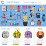 Aptitud y gimnasio Infographics Imagen de archivo libre de regalías