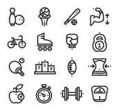 Aptitud y salud, fondo del blanco de los iconos del deporte Fotos de archivo libres de regalías