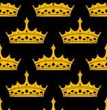 Apttern sem emenda real do vintage com coroas douradas Imagens de Stock Royalty Free