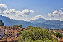 Apuan Alps behind the town Barga, Tuscany, Italy Royalty Free Stock Photography