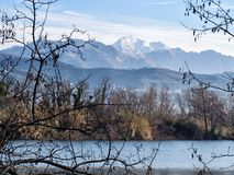 Bozi di Saudino, Sarzana, former gravel pits, now nature reserve. Apuan Alps, the marble mountains, in the distance Stock Images