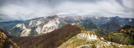Apuan alps. A panoramic of the Apuan alps Italy Royalty Free Stock Photo