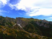 Apuan Alps. Panoramic view of a portion of the mountain range of the Apuan Alps in a sunny day Stock Photo
