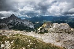 The Apuan alps and the valley. View from Apuan alps on the Serchio valley italy Stock Images
