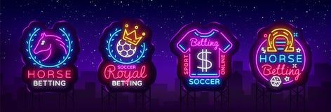 Apuesta de logotipos de la colección en el estilo de neón Fije las señales de neón que apuestan los deportes, caballo, fútbol Ele stock de ilustración