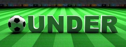 Apuesta del fútbol Balón de fútbol, bajo texto en hierba verde, bandera, ejemplo 3d libre illustration