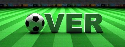 Apuesta del fútbol Balón de fútbol, sobre el texto en hierba verde, bandera, ejemplo 3d ilustración del vector