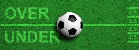 Apuesta del fútbol Balón de fútbol, sobre y bajo texto en hierba verde, bandera, ejemplo 3d libre illustration