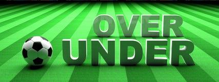 Apuesta del fútbol Balón de fútbol, sobre y bajo texto en hierba verde, bandera, ejemplo 3d ilustración del vector