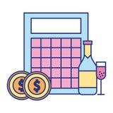 Apuesta del juego del casino de la botella de las monedas del bingo ilustración del vector