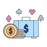 Apuesta del juego del casino de la moneda del dinero del dólar de la maleta ilustración del vector