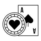 Apuesta del juego del casino del microprocesador del ace de la tarjeta ilustración del vector