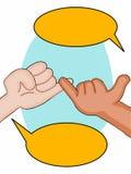 Apuesta y burbuja del discurso del ejemplo de las manos ejemplofondo blanco stock de ilustración