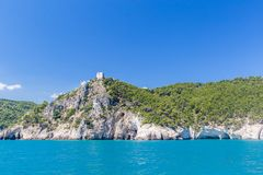 Panoramic view of San Felice Bay; Apulia, Italy. Apulia coast: panoramic view of San Felice Bay;Vieste, north Italy Royalty Free Stock Photography