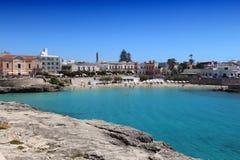 Apulia, Italy. Apulia seaside town - Santa Maria Al Bagno beach bay. Italy landscape stock images