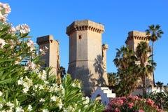 Apulia landmark. Quattro Colonne ruined towers in Santa Maria Al Bagno Royalty Free Stock Images