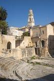 apulia lecce rzymski ruin theatre zdjęcia stock