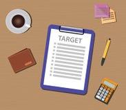 Apunte el ejemplo de la lista con el control y el documento del tablero Imagenes de archivo